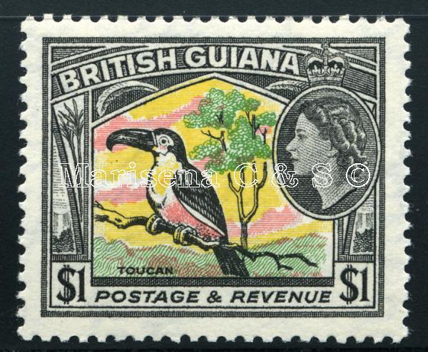 british guiana 1954 1 c - $ 5 sg 331 - 345 sc 253 - 267  vf mlh