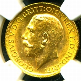 C GEORGE V GOLD COIN SOVEREIGN obverse