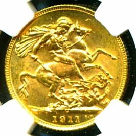 C GEORGE V GOLD COIN SOVEREIGN reverse