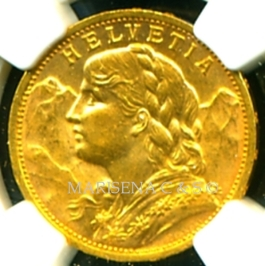 B SWITZERLAND GOLD COIN 20 FRANCS obverse