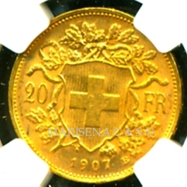 B SWITZERLAND GOLD COIN 20 FRANCS reverse