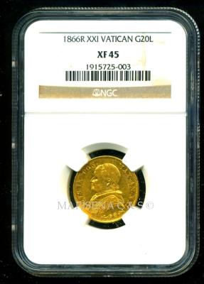 VATICAN GOLD COIN 20 LIRE   obverse